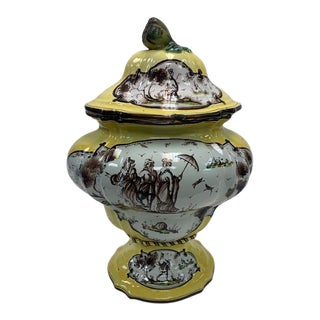 19th Century Savona Style Italian Yellow Faience Lidded Baluster Urn For Sale
