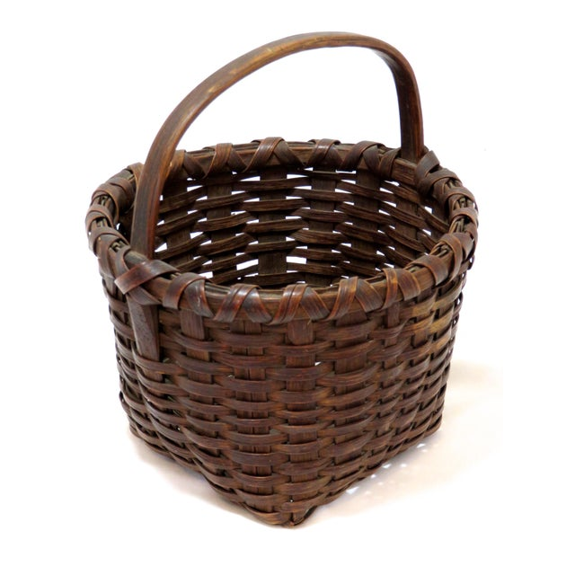 Wood Late 19th Century Antique American Handwoven Splint Basket For Sale - Image 7 of 7