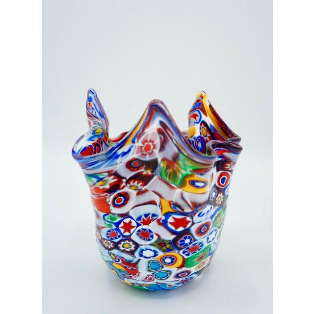 Vintage Murano Millefiori Handkerchief Vase For Sale - Image 11 of 12