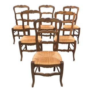 1910s Vintage French Country Rush Seat Solid Walnut Dining Chairs-Set of 6 For Sale
