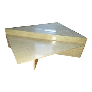 Two Piece Triangular Travertine Marble Coffee Table