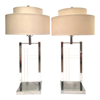 1970's George Kovacs Lucite & Chrome Table Lamps - A Pair