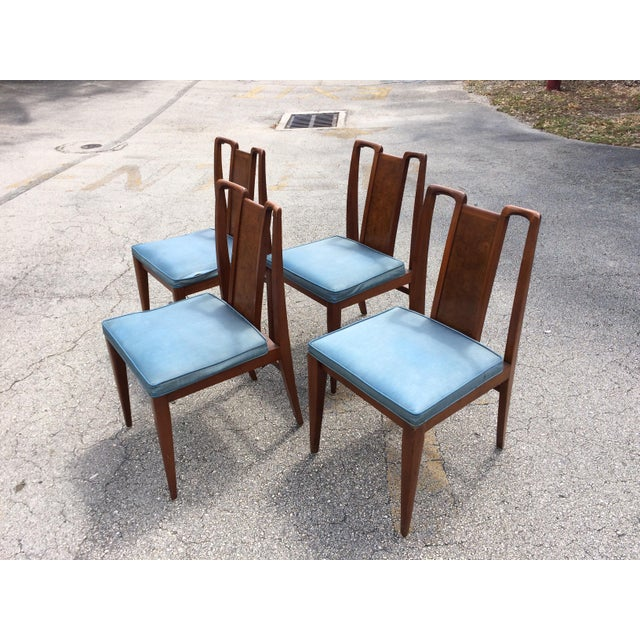 Mid-Century Modern Curved Burl Wood Dining Chairs- Set of 4 - Image 4 of 10