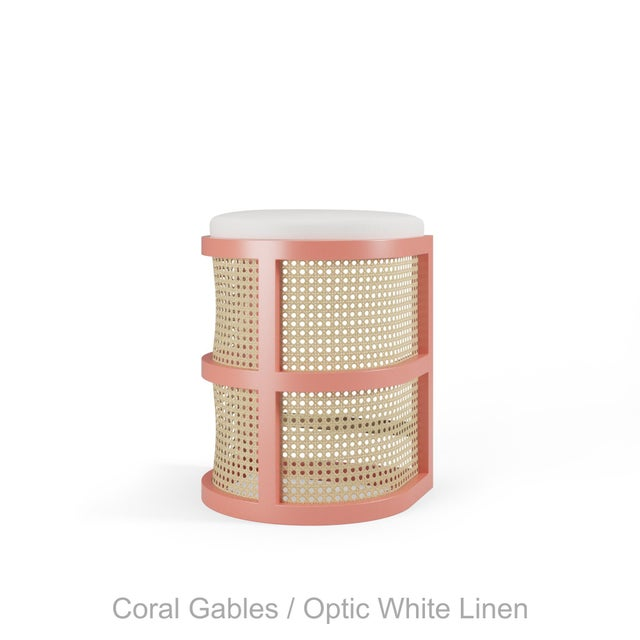 Not Yet Made - Made To Order Isabella Counter Stool - Coral Gables, Optic White Linen For Sale - Image 5 of 5