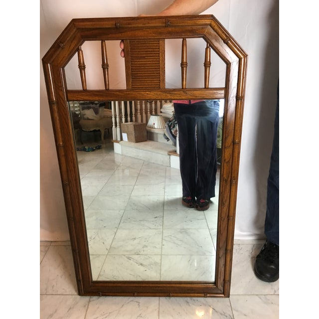 1960s Boho Chic Faux Bamboo Wood Mirror For Sale In Detroit - Image 6 of 8