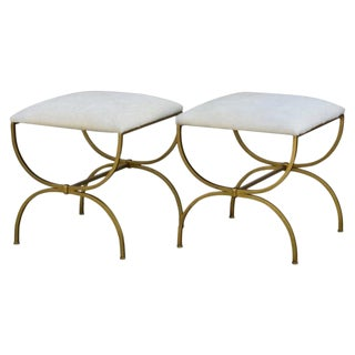 """Contemporary """"Strapontin"""" Gilt Iron and Hide Stools - a Pair For Sale"""
