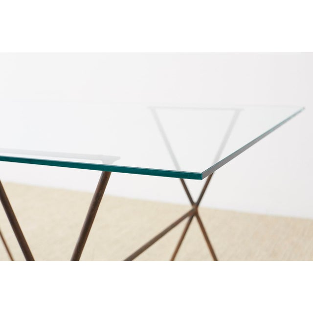 Midcentury Glass Table With Iron X Form Sawhorse Legs For Sale - Image 4 of 13