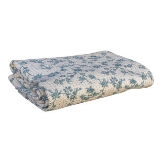 Floral Block Print Quilt For Sale