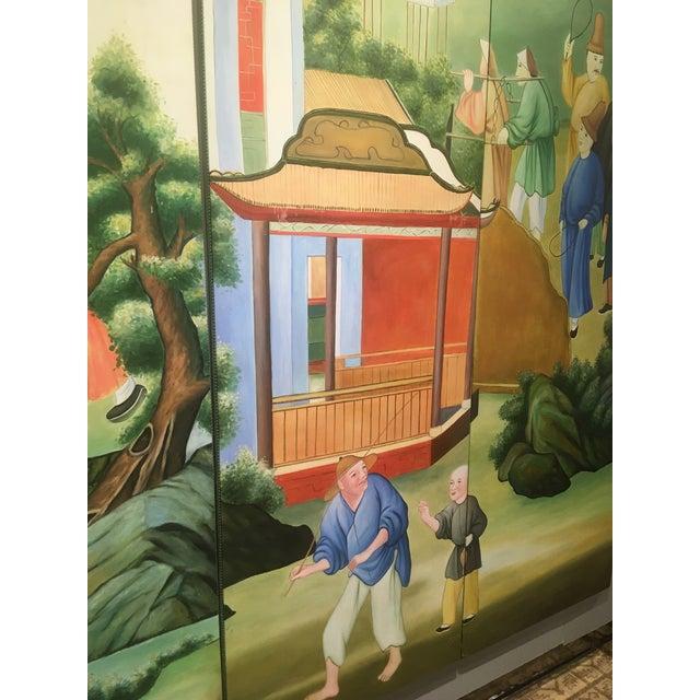Chinoiserie Mural Painting on Panels For Sale - Image 10 of 13