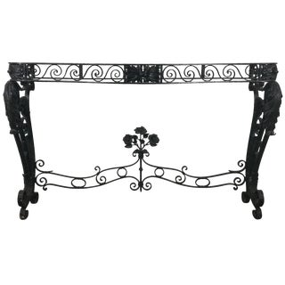 French Art Deco Iron Console Table Base in the Manner of Raymond Subes For Sale