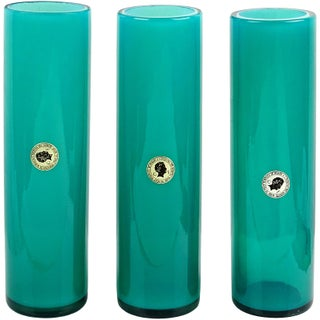Murano Opalescent Blue Italian Art Glass Round Cylinder Flower Vases With Labels Preview