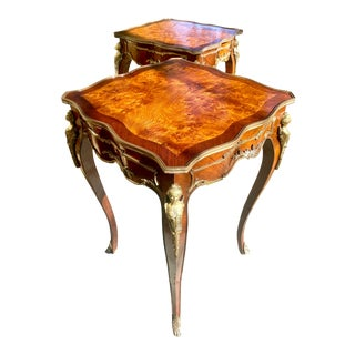 19th Century Louis XV Style Ormolu Mounted Tables -- a Pair For Sale