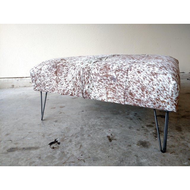 Gambrell Renard Tufted Cowhide Ottoman - Image 8 of 8