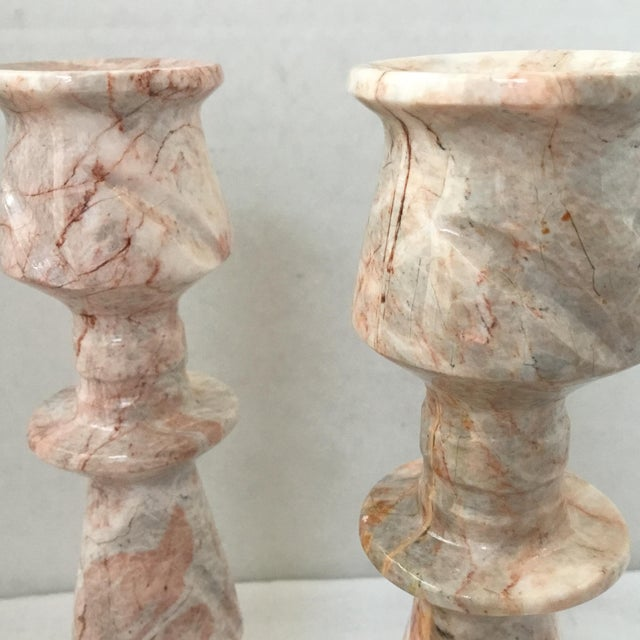 White 1970s Red Stone Candlesticks - a Pair For Sale - Image 8 of 11