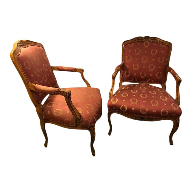 Open Arm Louis XV Style Feuteuil Chairs - a Pair For Sale