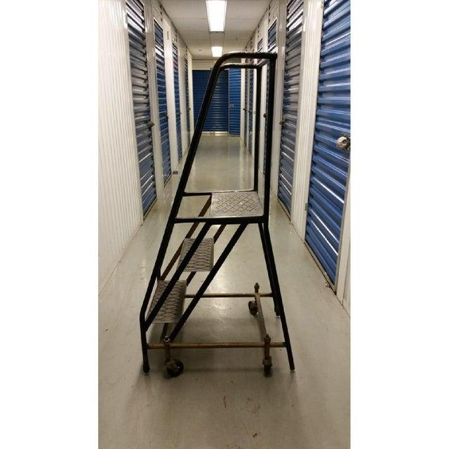 Vintage Industrial Steel Rolling Ladder For Sale In New York - Image 6 of 6
