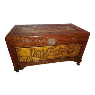 Early 1900s Chinese Oriental Hand-Carved Camphor Chest For Sale