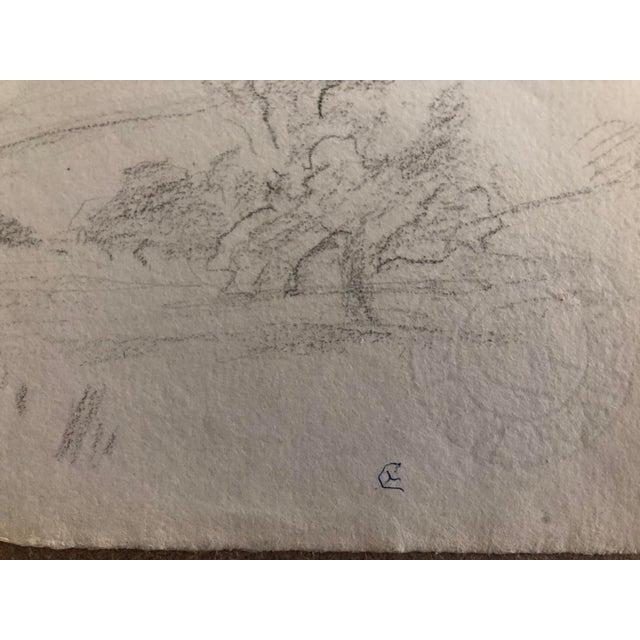 1930s Vintage Eliot Clark American Impressionist Landscape Drawing For Sale - Image 4 of 6