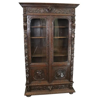 Bookcase Antique French Hunting Style 1880 Carved For Sale