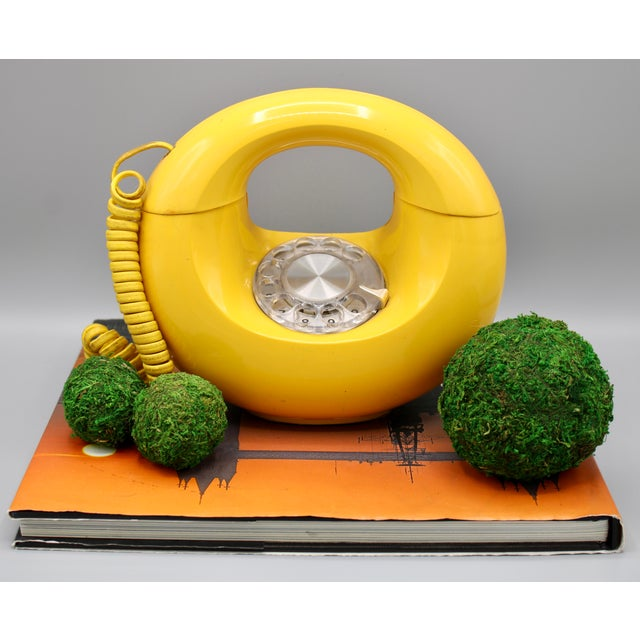 Art Deco 1970s Art Deco Lemon Yellow Rotary Telephone For Sale - Image 3 of 13