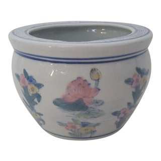 Vintage Blanc De Chine Asian Lotus Flower Cachepot