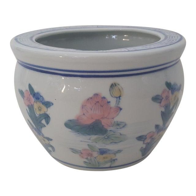 Vintage Blanc De Chine Asian Lotus Flower Cachepot - Image 1 of 8