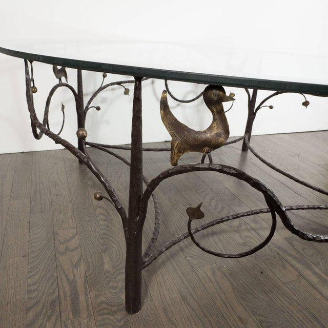 Midcentury Scrolling Bronze Coffee Table with Flora and Fauna Motifs For Sale In New York - Image 6 of 10