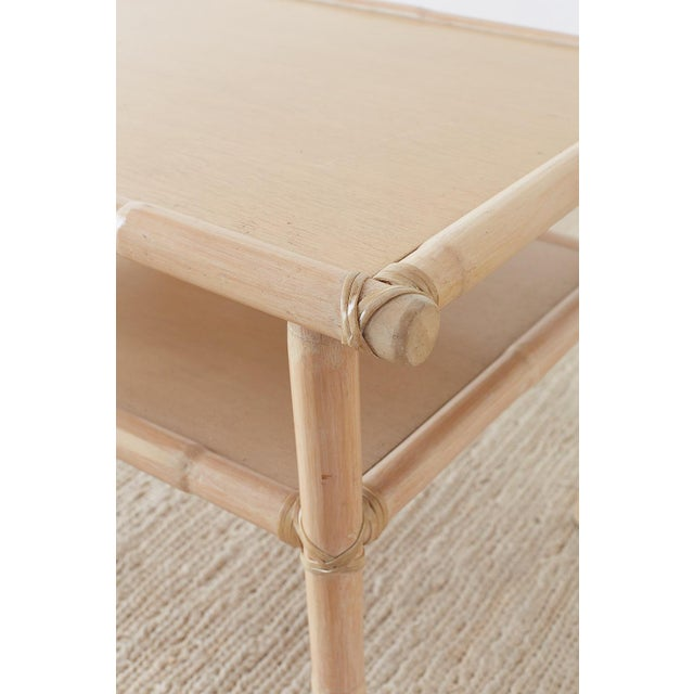 McGuire Bamboo Rattan Two-Tier Cerused Side Table For Sale - Image 10 of 11
