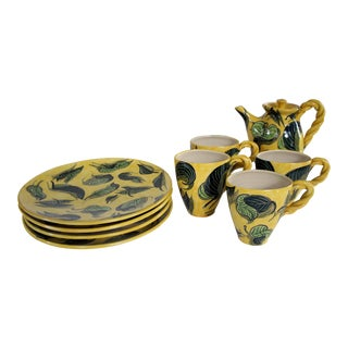 1990s Vintage Handthrown Ceramic Leaf Motif Tea Set - 9 Pieces For Sale