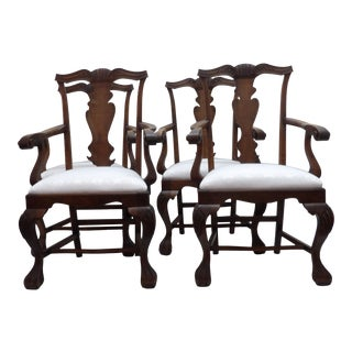 Vintage Carved Wood Dining Chairs - Set of 4 For Sale