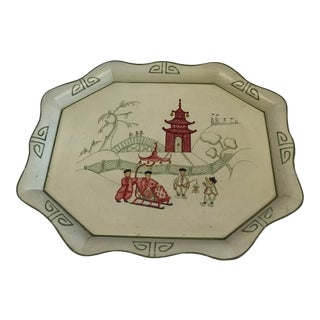 Late 20th Century Chinoiserie Cream Hand Painted Tole Tin Tray