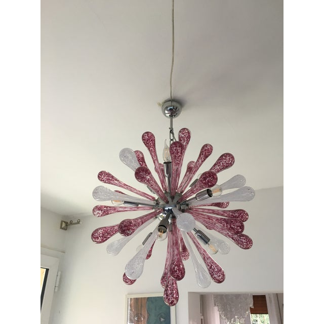 Red and White Murano Glass Sputnik Chandelier For Sale - Image 12 of 12