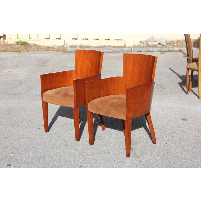 Pair of Solid Mahogany Ralph Lauren Modern Hollywood Armchairs . For Sale - Image 13 of 13