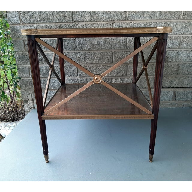French Theodore Alexander Eglomise Walnut End Lamp Table With Lower Shelf, Glass and Brass Accents For Sale - Image 3 of 13