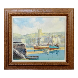Early 20th Century Wood Framed Oil on Canvas Painting Bernard Laarhoven Harbor For Sale