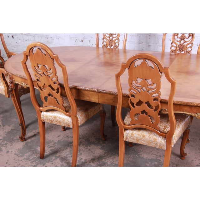 French 1960s Romweber Ornate Burl Wood French Carved Extension Dining Table & Six Chairs - Set of 6 For Sale - Image 3 of 13