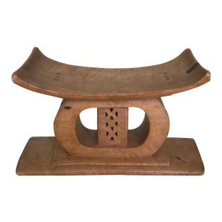 Ashanti African Tribal Stool in Hand Carved Wood, Early 20th Century For Sale
