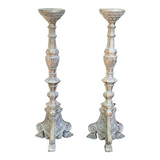Mid-Century Cherry Wood Candlesticks - a Pair For Sale