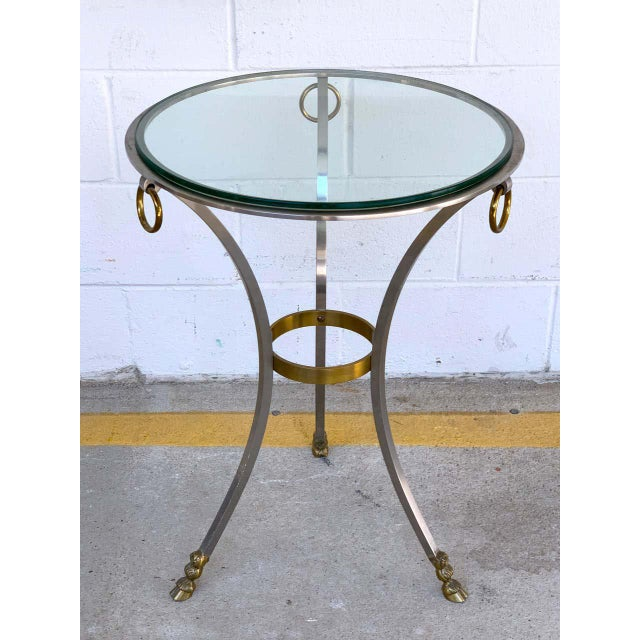 Metal Maison Jansen Neoclassical Steel and Brass Gueridon For Sale - Image 7 of 11