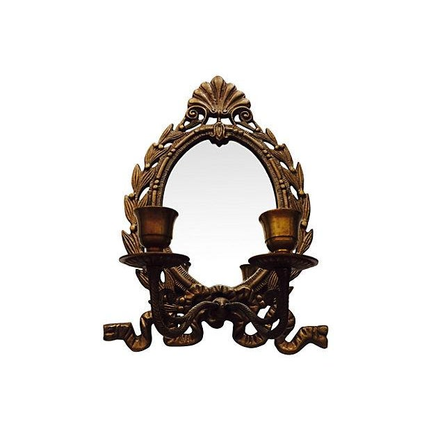 French Mirrored Candle Wall Sconce - Image 2 of 2