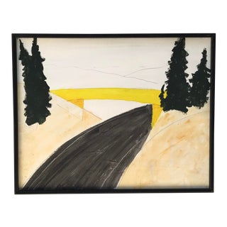 1970s Modern Abstract Landscape Acrylic Painting For Sale