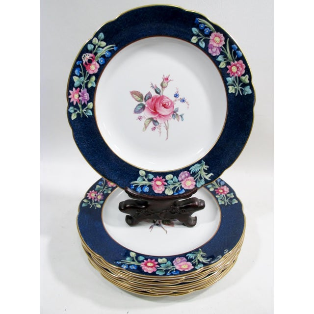 """Stunning set of 8 – 9.25"""" dia. luncheon or dessert plates. Fine English bone china with a beautiful decoration of a large..."""