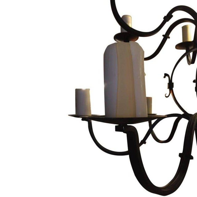 Mid-Century Modern Tommy Hilfiger Wrought Iron Chandelier For Sale - Image 3 of 7