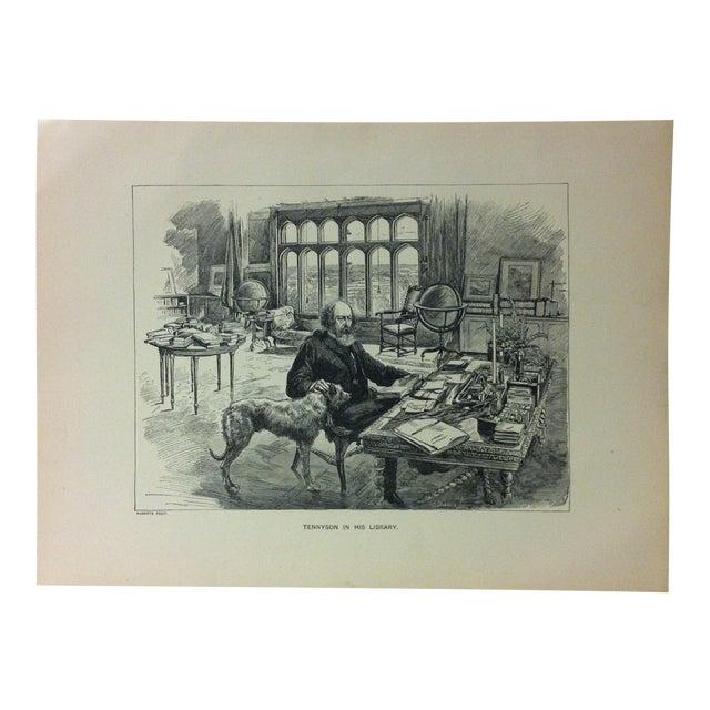 "Antique Black & White Print on Paper, ""Tennyson in His Library"", Circa 1880 For Sale"