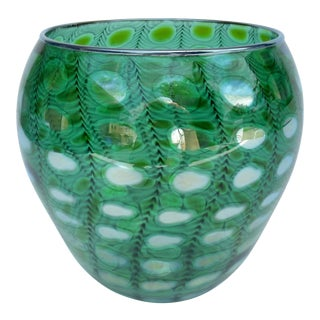 """Vintage Italian Hand-Blown Bulbous """"Zebrati"""" Murano in Kelly Green, Chartreuse, & Sterling Silver For Sale"""