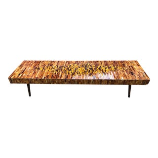 Mid Century Coffee Table Lacquer Tile Abstract Motif For Sale