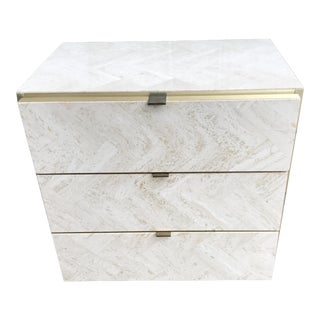 20th Century Hollywood Regency Ello Travertine and Brass Side Table For Sale