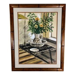 1958 Original Custom Bamboo Framed Watercolor Still Life Painting For Sale