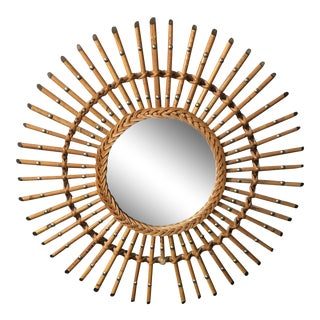 French Mid-Century Modern Rattan Round Mirror For Sale