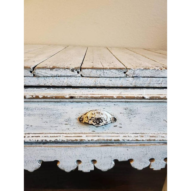 Early 20th Century Antique Distressed Painted Plank Top Console Table For Sale - Image 5 of 11